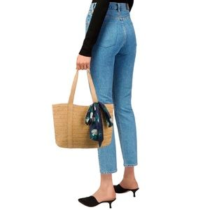 Draper James Woven Straw Tote Bag w/ Floral Scarf